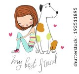 cute girl with dog  | Shutterstock .eps vector #192511895