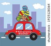 cute happy easter for easter... | Shutterstock .eps vector #1925128364