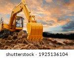Excavator With Bucket Lift Up...