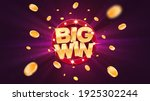 big win gold text on retro red... | Shutterstock .eps vector #1925302244