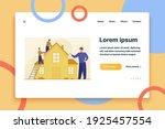 workers repairing roof.... | Shutterstock .eps vector #1925457554