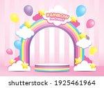 kawaii pastel rainbow archway...   Shutterstock .eps vector #1925461964