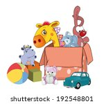 box with toys cartoon | Shutterstock .eps vector #192548801