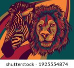 zabra and lion head vector... | Shutterstock .eps vector #1925554874