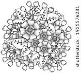 mehndi flower for henna  mehndi ... | Shutterstock .eps vector #1925576231