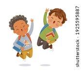 boys jumping. boy and friends.... | Shutterstock .eps vector #1925595887