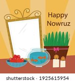 happy nowruz  mirrors  candles  ... | Shutterstock .eps vector #1925615954