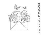 envelope with  flowers line... | Shutterstock .eps vector #1925616581