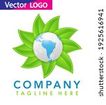 world globe icon with leaf... | Shutterstock .eps vector #1925616941