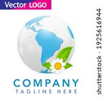 world globe icon with leaf... | Shutterstock .eps vector #1925616944