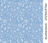 cute hand drawn easter seamless ... | Shutterstock .eps vector #1925619764