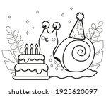 happy cute cartoon snail.... | Shutterstock .eps vector #1925620097