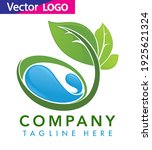 water drop with leaf logo... | Shutterstock .eps vector #1925621324