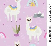 funny pattern with cute lama... | Shutterstock .eps vector #1925623037