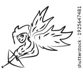 hand drawn cupid on white... | Shutterstock .eps vector #1925647481