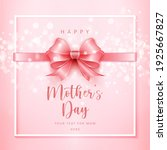happy mother's cute pink ribbon ... | Shutterstock .eps vector #1925667827