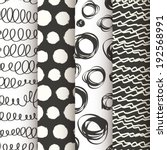 set of 4 black and white doodle ... | Shutterstock .eps vector #192568991