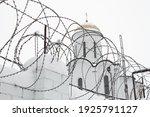 Christian Church Behind A Fence ...