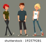 funny cartoon illustration of teenagers in spring fashion