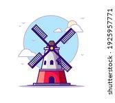 Windmill Landmarks Vector Icon...