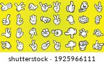 cartoon hands set with gloves... | Shutterstock .eps vector #1925966111