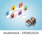 remote collaboration work... | Shutterstock .eps vector #1926013214