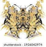 scary butterfly wings golden... | Shutterstock .eps vector #1926042974