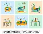 people working at home ... | Shutterstock .eps vector #1926043907