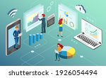 businessman use data analytics... | Shutterstock .eps vector #1926054494