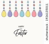 hanging easter eggs. colourful... | Shutterstock .eps vector #1926135011