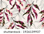 tropical leaves hand drawn... | Shutterstock .eps vector #1926139937