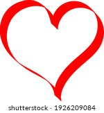 red heart   outline drawing for ... | Shutterstock .eps vector #1926209084