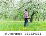 boys run in a blossoming apple... | Shutterstock . vector #192624311