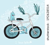 blue background with a bicycle. | Shutterstock . vector #192628514