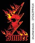 skull with flame illustration... | Shutterstock .eps vector #1926299414