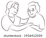 nurse hugging and holding a... | Shutterstock .eps vector #1926412034