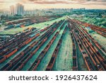 Aerial View Of Freight Trains...