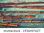 Aerial View Of Freight Trains....