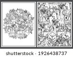 coloring pages set with cute... | Shutterstock .eps vector #1926438737