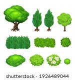 set of 3d isometric trees and... | Shutterstock . vector #1926489044