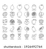 set of fruit thin line and... | Shutterstock .eps vector #1926492764