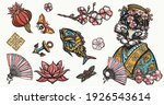 cats old school tattoo vector... | Shutterstock .eps vector #1926543614