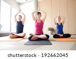 young people meditating in a... | Shutterstock . vector #192662045