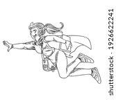 girl superhero flying in a... | Shutterstock .eps vector #1926622241