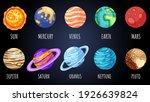 set of cartoon planets  stars...   Shutterstock .eps vector #1926639824