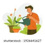 man is watering the plants in... | Shutterstock .eps vector #1926641627