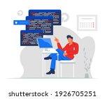 professional programmer writing ...   Shutterstock .eps vector #1926705251