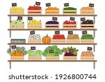 set of vegetables and fruits in ...   Shutterstock .eps vector #1926800744