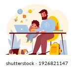 teaching at home. father helps...   Shutterstock .eps vector #1926821147