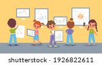 children drawings exhibition.... | Shutterstock .eps vector #1926822611